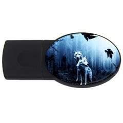 Wolfs Usb Flash Drive Oval (4 Gb) by Valentinaart