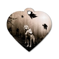 Wolfs Dog Tag Heart (two Sides) by Valentinaart