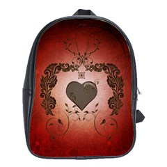 Wonderful Heart With Decorative Elements School Bag (large) by FantasyWorld7