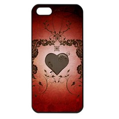 Wonderful Heart With Decorative Elements Apple Iphone 5 Seamless Case (black) by FantasyWorld7