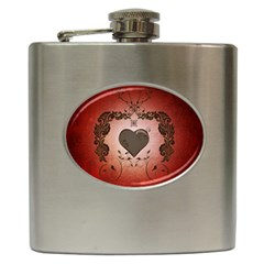 Wonderful Heart With Decorative Elements Hip Flask (6 Oz) by FantasyWorld7