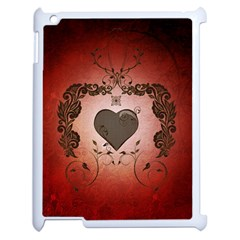 Wonderful Heart With Decorative Elements Apple Ipad 2 Case (white) by FantasyWorld7