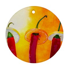 Three Red Chili Peppers Ornament (round) by FunnyCow