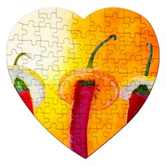 Three Red Chili Peppers Jigsaw Puzzle (heart) by FunnyCow