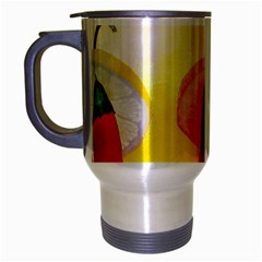 Three Red Chili Peppers Travel Mug (silver Gray) by FunnyCow