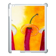 Three Red Chili Peppers Apple Ipad 3/4 Case (white) by FunnyCow