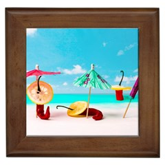 Red Chili Peppers On The Beach Framed Tiles by FunnyCow