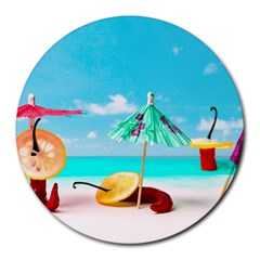 Red Chili Peppers On The Beach Round Mousepads by FunnyCow