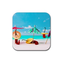 Red Chili Peppers On The Beach Rubber Square Coaster (4 Pack)  by FunnyCow