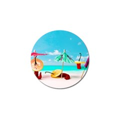 Red Chili Peppers On The Beach Golf Ball Marker by FunnyCow