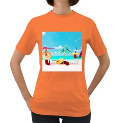 Red Chili Peppers On The Beach Women s Dark T Shirt by FunnyCow