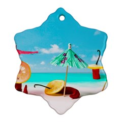 Red Chili Peppers On The Beach Snowflake Ornament (two Sides) by FunnyCow