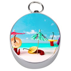 Red Chili Peppers On The Beach Silver Compasses by FunnyCow