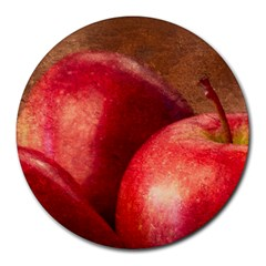 Three Red Apples Round Mousepads