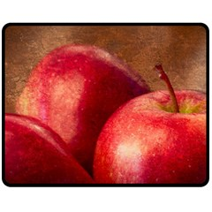 Three Red Apples Fleece Blanket (medium)  by FunnyCow
