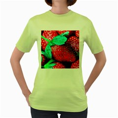 Red Strawberries Women s Green T Shirt by FunnyCow