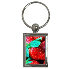 Red Strawberries Key Chains (rectangle)  by FunnyCow