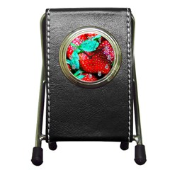 Red Strawberries Pen Holder Desk Clock by FunnyCow