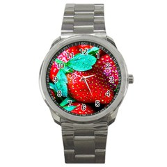 Red Strawberries Sport Metal Watch by FunnyCow