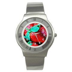 Red Strawberries Stainless Steel Watch by FunnyCow
