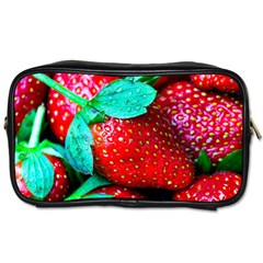 Red Strawberries Toiletries Bag (two Sides) by FunnyCow