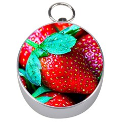 Red Strawberries Silver Compasses by FunnyCow