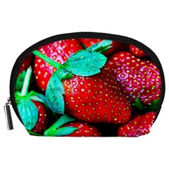 Red Strawberries Accessory Pouch (large) by FunnyCow