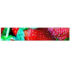 Red Strawberries Large Flano Scarf  by FunnyCow