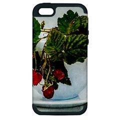 Red Raspberries In A Teacup Apple Iphone 5 Hardshell Case (pc+silicone) by FunnyCow