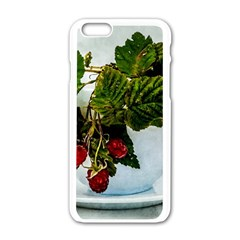 Red Raspberries In A Teacup Apple Iphone 6/6s White Enamel Case by FunnyCow