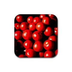 Pile Of Red Tomatoes Rubber Coaster (square)  by FunnyCow