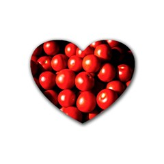 Pile Of Red Tomatoes Rubber Coaster (heart)  by FunnyCow
