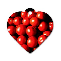 Pile Of Red Tomatoes Dog Tag Heart (one Side) by FunnyCow