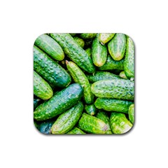 Pile Of Green Cucumbers Rubber Coaster (square)  by FunnyCow