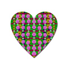 Roses And Other Flowers Love Harmony Heart Magnet by pepitasart