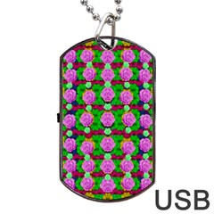 Roses And Other Flowers Love Harmony Dog Tag Usb Flash (one Side) by pepitasart