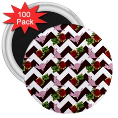 Cat Rose Chevron 3  Magnets (100 Pack)