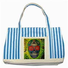 Mexican Skull Striped Blue Tote Bag by alllovelyideas
