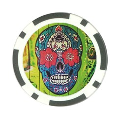 Mexican Skull Poker Chip Card Guard by alllovelyideas