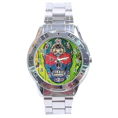 Mexican Skull Stainless Steel Analogue Watch by alllovelyideas