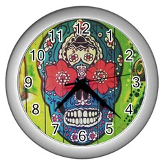 Mexican Skull Wall Clock (silver) by alllovelyideas