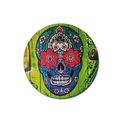 Mexican Skull Rubber Round Coaster (4 Pack)  by alllovelyideas