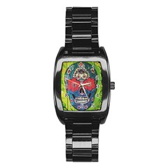 Mexican Skull Stainless Steel Barrel Watch by alllovelyideas