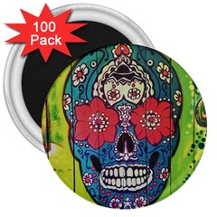 Mexican Skull 3  Magnets (100 Pack)