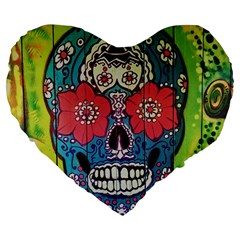 Mexican Skull Large 19  Premium Flano Heart Shape Cushions by alllovelyideas