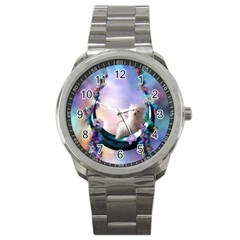 Cute Little Maltese Puppy On The Moon Sport Metal Watch by FantasyWorld7