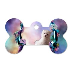 Cute Little Maltese Puppy On The Moon Dog Tag Bone (two Sides) by FantasyWorld7