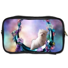Cute Little Maltese Puppy On The Moon Toiletries Bag (two Sides) by FantasyWorld7