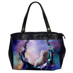Cute Little Maltese Puppy On The Moon Oversize Office Handbag by FantasyWorld7