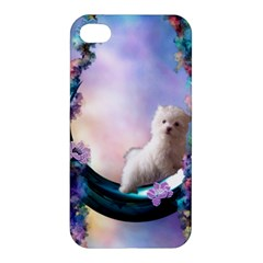 Cute Little Maltese Puppy On The Moon Apple Iphone 4/4s Premium Hardshell Case by FantasyWorld7